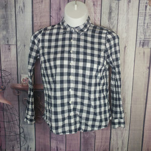 Womens size L Crown & Ivy blue white gingham D38